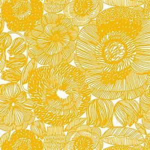 Marimekko Geranium White/Yellow Fabric - Marimekko Cotton