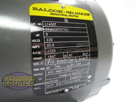 hp single phase baldor electric compressor motor