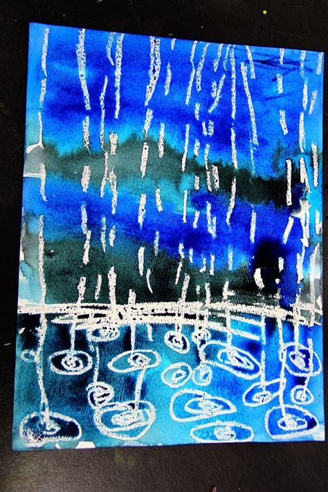 smart class winter rain watercolor resist weather art