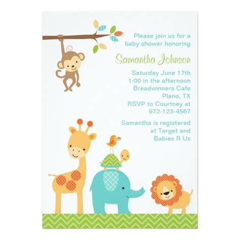 jungle baby shower invitations images