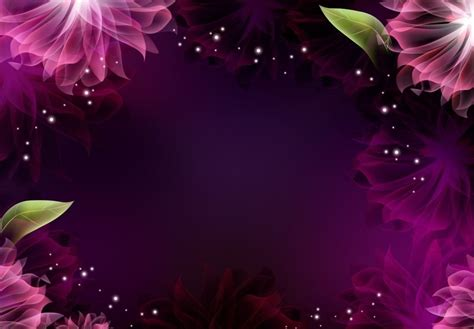 bright pink shiny flower frame powerpoint background