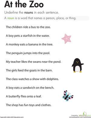 nouns at the zoo worksheet education