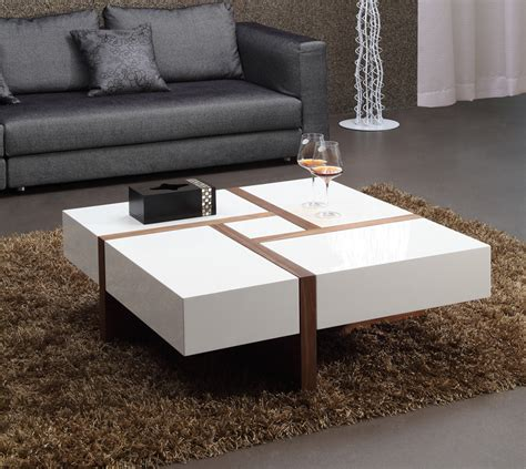 modern square coffee table modrest makai modern white walnut square coffee table