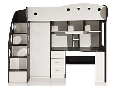 lit combiné bureau conforama lit mezzanine 90x190 cm coloris blanc gris vente