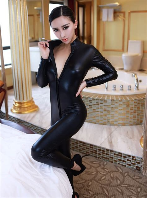 women jumpsuit spandex sexy black cat latex