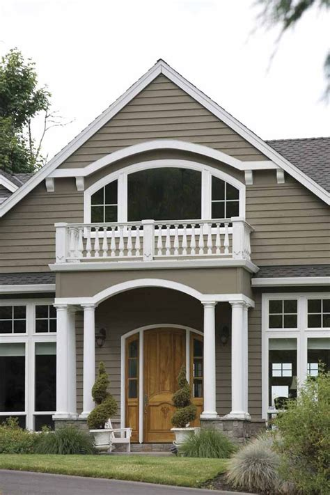brownish taupe shingles white trim the colors