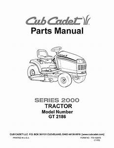 Cub Cadet Parts Manual Model No  Gt 2186