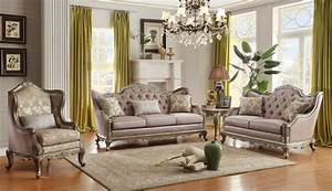 Homelegance fiorella european wood trim sofa set usa for Home elegance furniture warehouse
