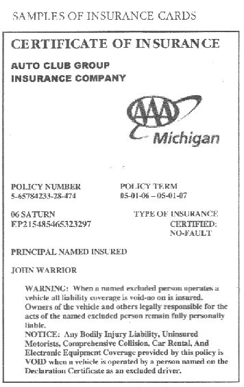 proof of insurance templates 23 images of michigan auto insurance card template gieday