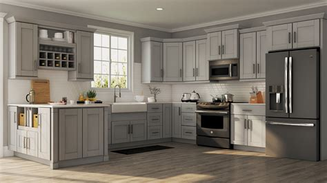 shaker wall cabinets  dove gray kitchen  home depot