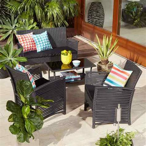 kmart wicker patio sets 4 wicker look conversation set kmart