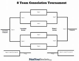 8 team consolation tournament bracket printable With 8 team bracket template