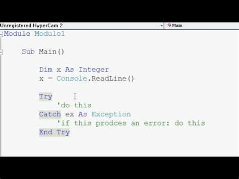 Vb Resume Next Try Catch by Visual Basic Tutorials P8 Try Catch Statement
