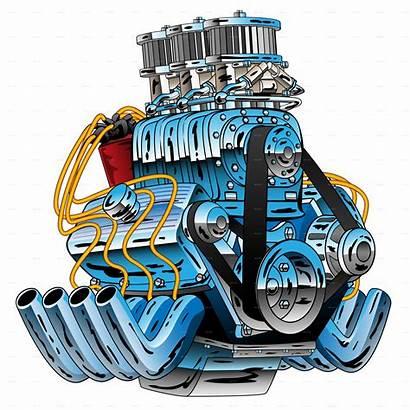 Rod Engine Dragster Cartoon Motor Drag Vector