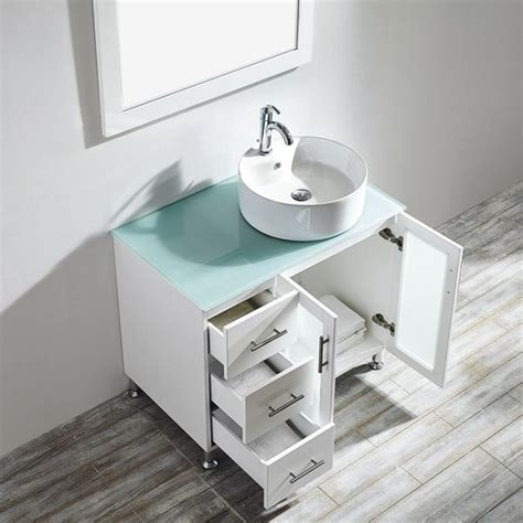 Glass Bathroom Sinks And Vanities by Vinnova Tuscany 36 Inch White Single Vanity With White