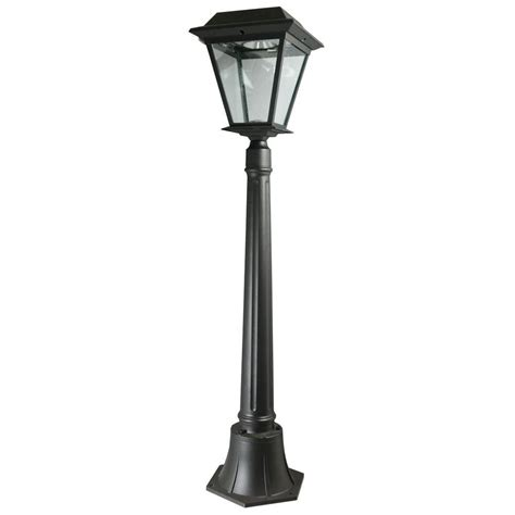 outdoor solar l post lights xepa stay on whole night 300 lumen 77 in outdoor black