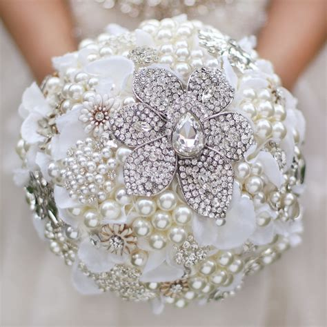 Custom Wedding bridal brooches bouquet ivory white bride