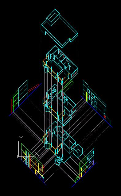 smith house explosion isometric  autocad cad