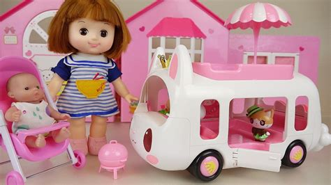 Baby Doll And Rabbit Camping Car Picnic Toys Play