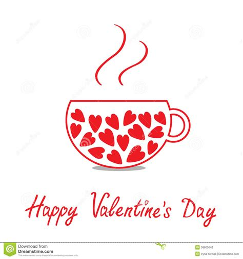 Love Teacup With Hearts. Happy Valentines Day Card Stock ...