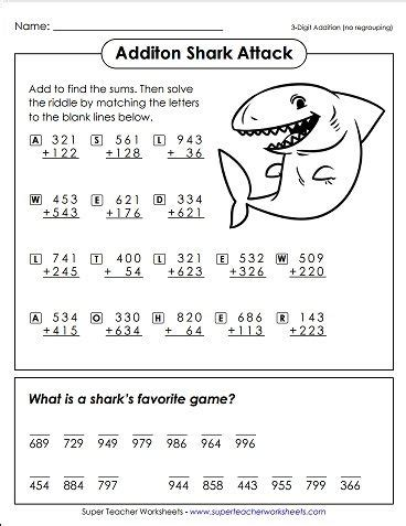 solve this basic addition math riddle to find out quot what is a shark s favorite game quot math