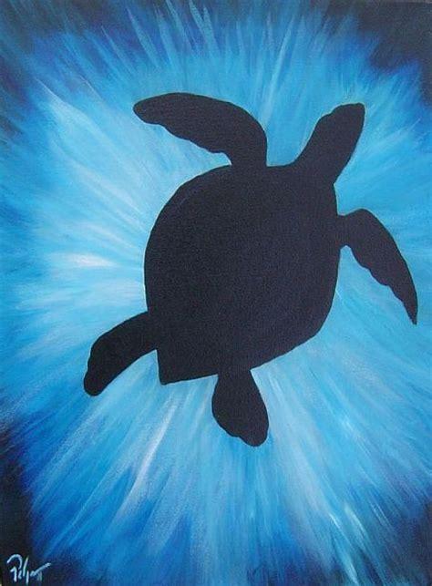 sea turtle silhouette  blue spray  water cute