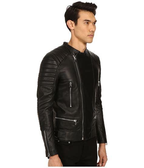 philipp plein leather motor jacket  black  men lyst