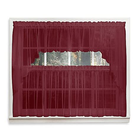 14 Inch Valance by Emelia 14 Inch Sheer Window Valance In Burgundy Bed Bath
