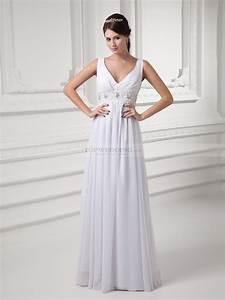 v neck chiffon empire wedding dress with embellished waist With chiffon wedding dress empire waist