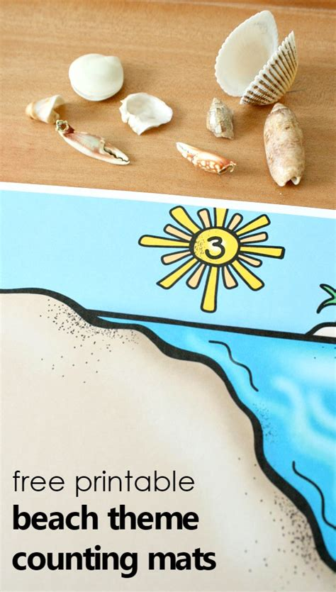 theme counting mats fantastic amp learning 639 | free printable beach theme counting mats
