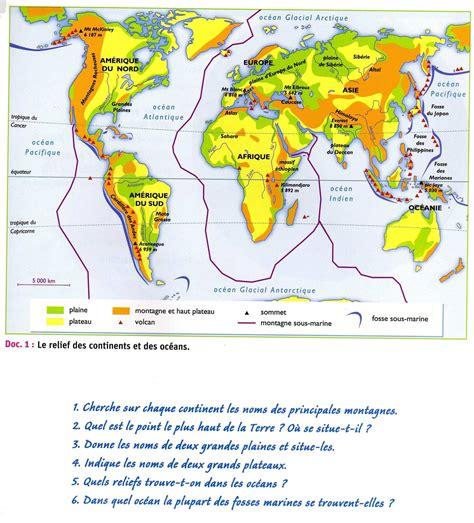 Carte Relief Monde Cycle 3 by Le Relief Du Monde Carte En Couleur Le De La