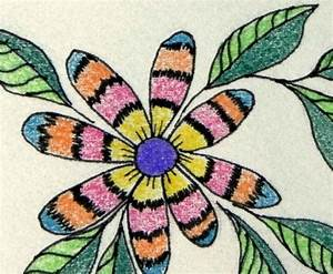 ABSTRACT FLOWER, Colored Pencil and Ink Drawing, Colorful ...