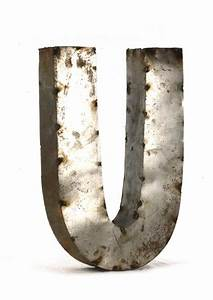 Industrial rustic metal small letter u 18 inch kathy kuo for 18 inch metal letters