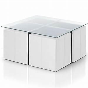 Table Basse Avec Pouf Pas Cher : table basse en verre avec 4 poufs calvi couleur blanc ~ Teatrodelosmanantiales.com Idées de Décoration