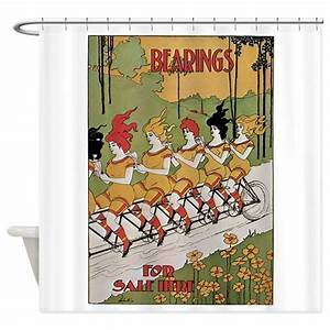 Bearings bicycle poster shower curtain by fullmoonemp for Kitchen colors with white cabinets with tandem bike wall art