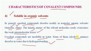 Characteristics Of Covalent Compounds