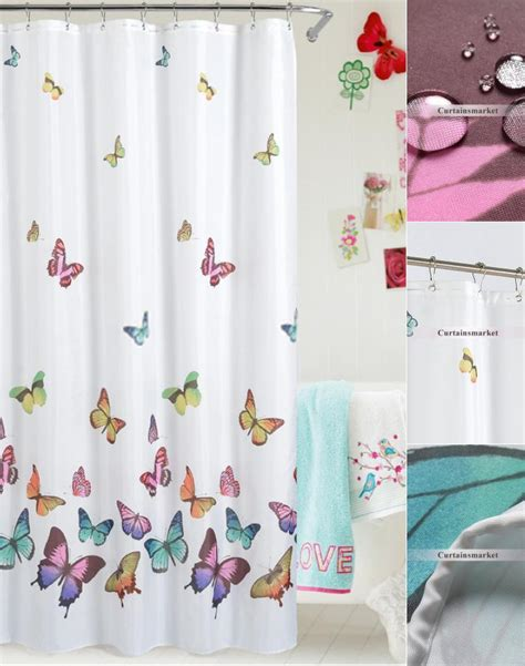 butterfly shower curtain white panel decorated with butterfly shower curtains