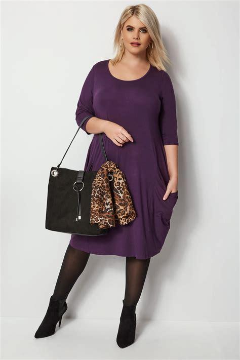Robe Trapèze Violet Avec Poches, Grande Taille 44 à 64