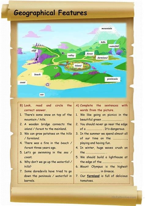 geographical features worksheet  esl printable