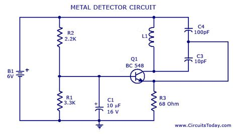 Metal Detector Circuit With Diagram Schematic
