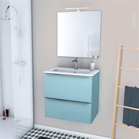 ensemble salle de bains meuble keria bleu plan vasque r 233 sine miroir et 233 clairage l60 5 x h58 5 x