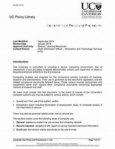Computer Use Policy Template Download Computer Use Policy And Procedures For Free