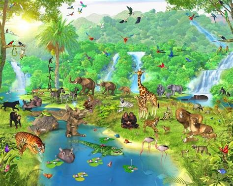 Animal Mural Wallpaper - forest wallpaper murals for animal cool ideas for