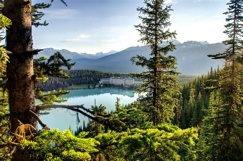 Canada trees sky forest lake hotel nature mountains house ...