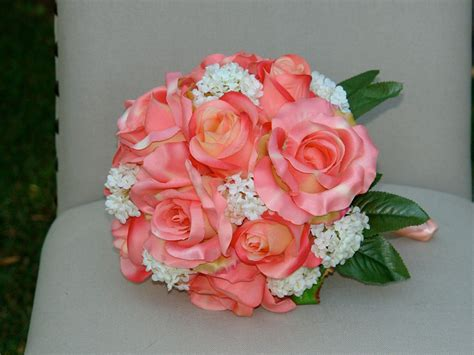 coral  teal wedding flowers custom listing