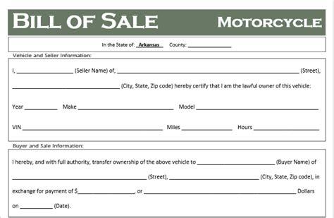 arkansas motorcycle bill  sale template  road