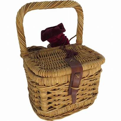Wine Picnic Basket Cheese Leather Strap Wicker