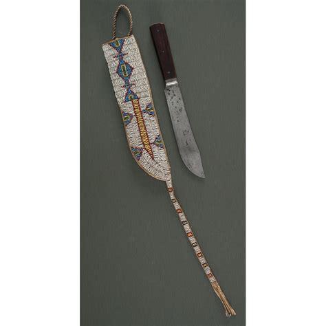 sioux beaded hide knife sheath  knife cowans