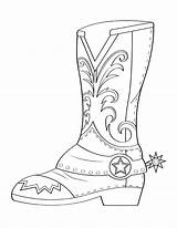 Coloring Cowboy Boots Boot Printable Western Museprintables Crafts Colouring Drawing Theme Easy sketch template