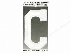 iron on embroidered letter quotcquot 3 in white createforless With joy iron on embroidered letters